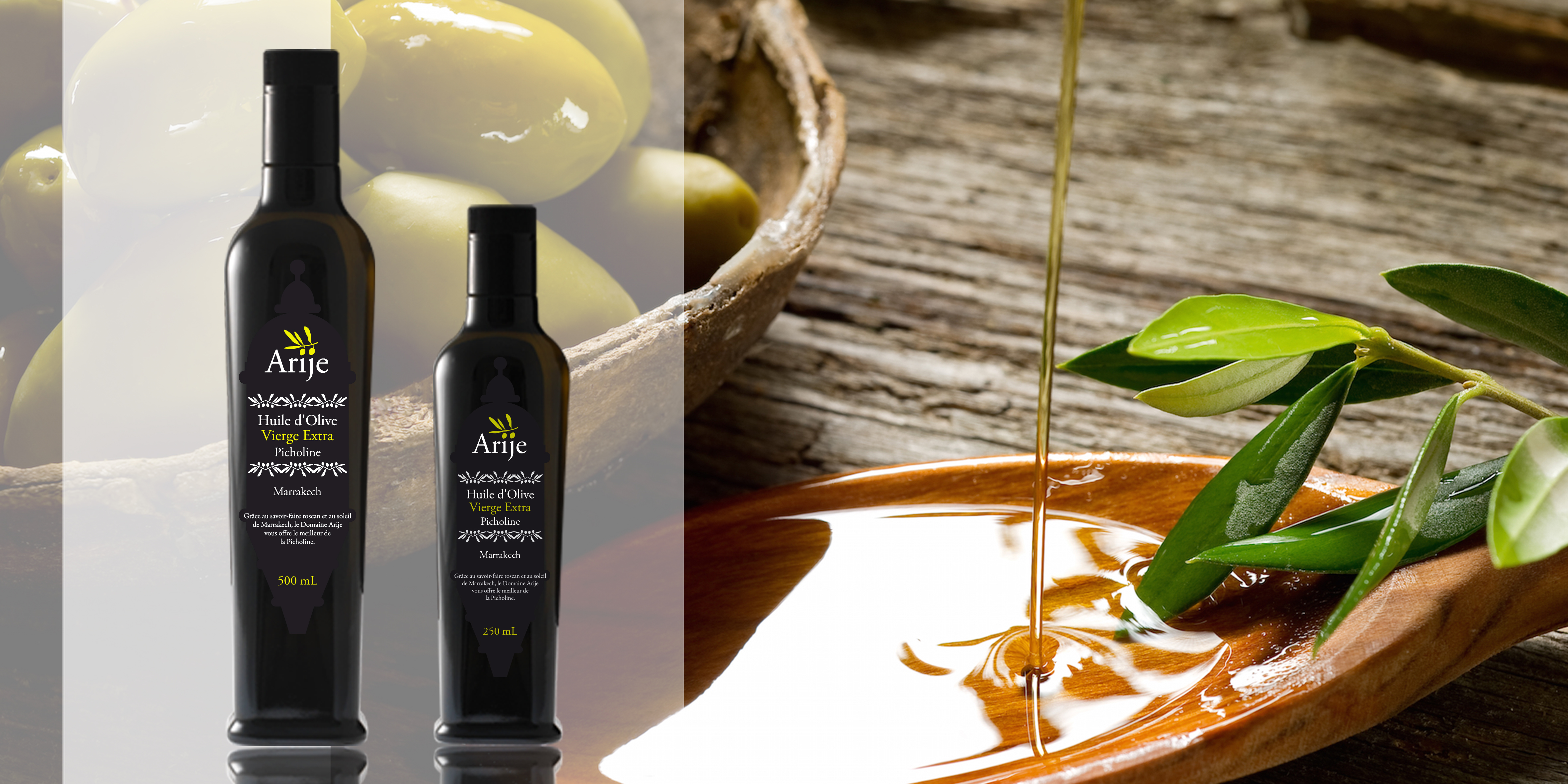 Le Domaine produit quatre types d'huile d'olive extra vierge disponibles en bouteilles de 500 et 250mL The estate produces four types of extra virgin olive oil available in 500 and 250mL bottles